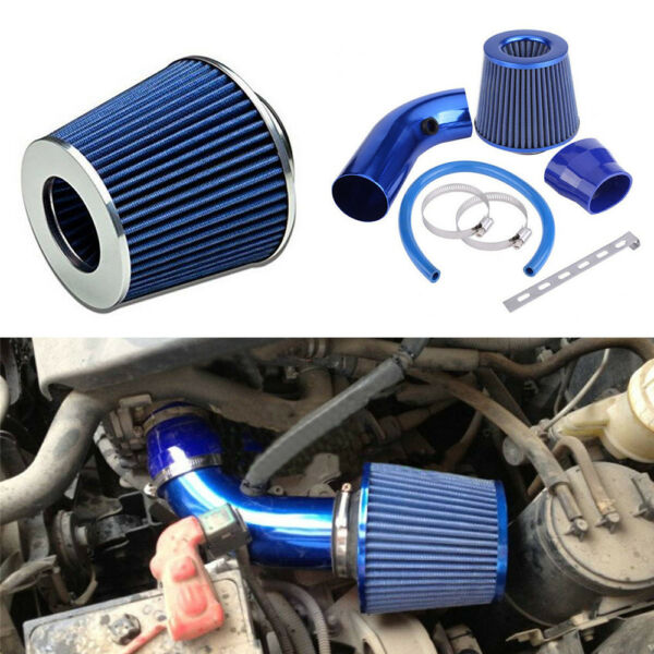 US 3'' 76mm Car Cold Air Intake System Turbo Induction Hose Filter Pipe Kit Blue