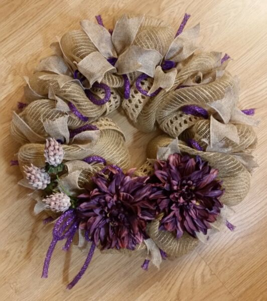 Spring deco mesh wreath Spring flower wreath Spring burlap wreath  Purple mums