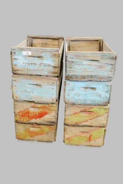 Set 8 Painted Antique Wooden Grape Fruit Produce Crates Retail Display Storage