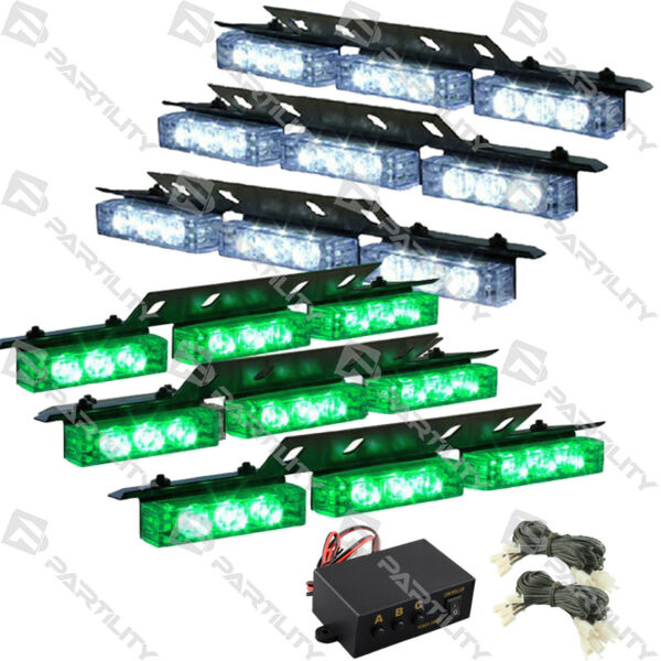 54 Green & White LED Emergency Vehicle Strobe Flash Lights Front Grill Truck