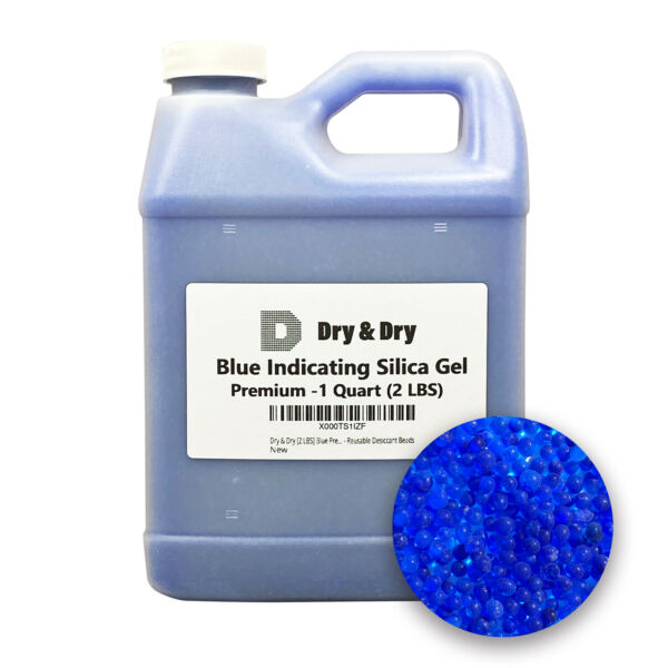 1 Quart Premium Blue Indicating Silica Gel Desiccant Beads 2 LBS Rechargeable $16.99