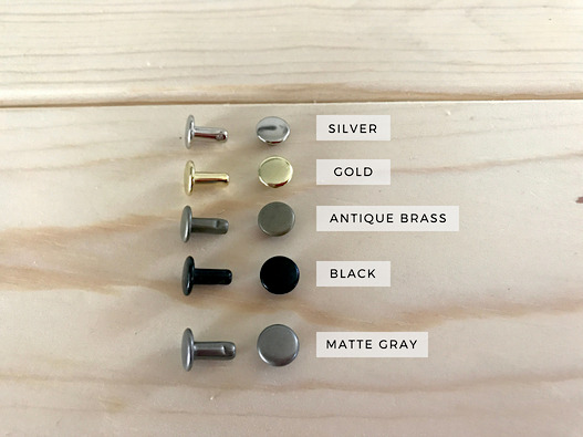 Double Cap Rivets in: Silver Gold Black Antique Brass and Matte Gray