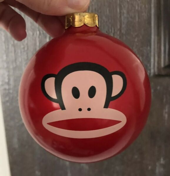 Vintage Paul Frank Julius the Monkey Christmas Tree Ornament Ball Red 4