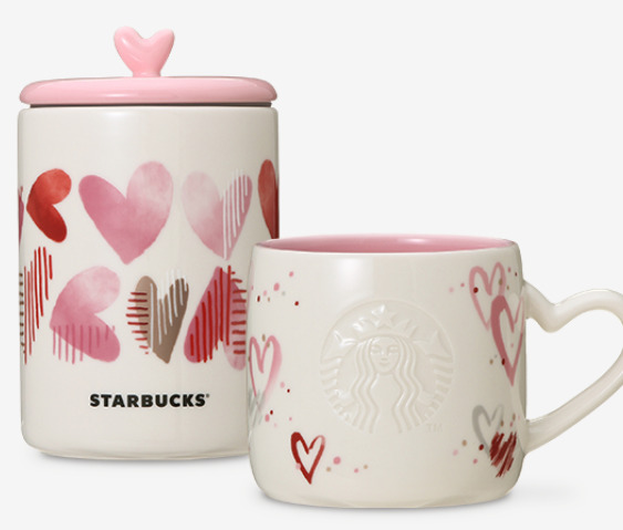 Starbucks coffee Heart 355ml  Mug Cup Canister Set Japan Valentine Limited JP