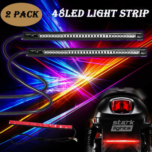 Motorcycle 48 LED Flexible Strip Light Integrated Tail Brake Stop Turn Signal 2x