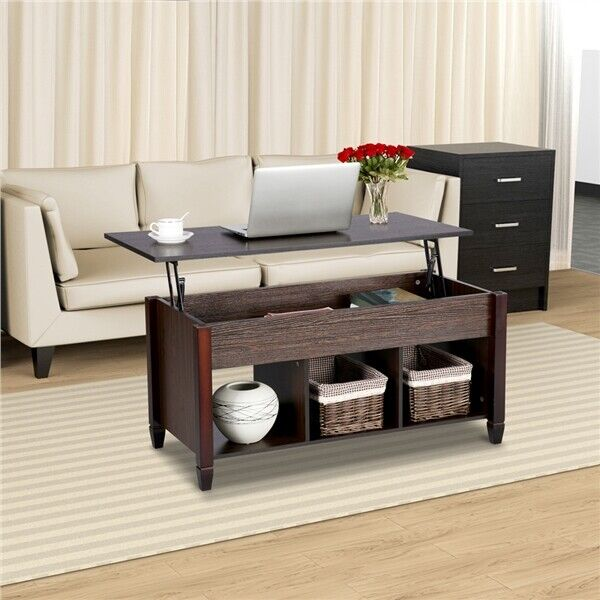 Lift Top Coffee Table w 3 Hidden Compartment Storage Shelf Living Room Furniture $109.99