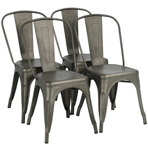 Iron Metal Dining Chair Stackable Side Chairs Bar Chairs with Back Set of 4