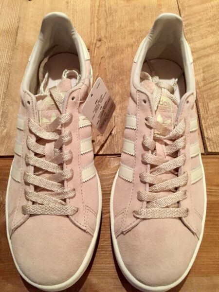 NWB ADIDAS Campus Men US Size 8 Tan and White  Suede Sneaker