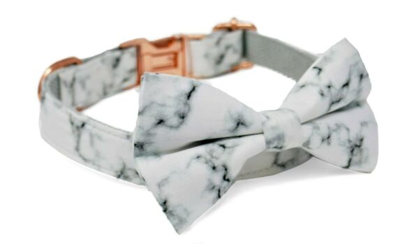 Luxury Dog Puppy Collar Adjustable Rose Gold Marble Bow Size SMALL GBP 14.99