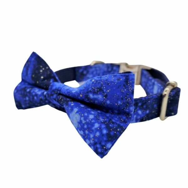 Luxury Dog Puppy Collar Adjustable Gold Bow Blue Star Galaxy SMALL GBP 12.99