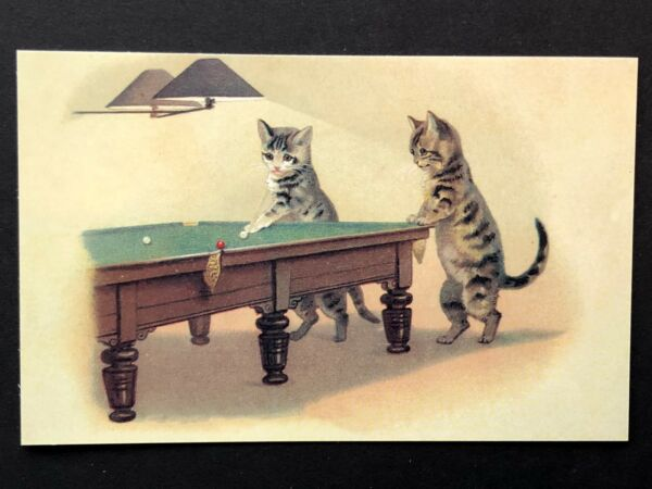 repro vintage postcard CAT PLAYING POOL billiard kittens Pleiades Press p163 NOS