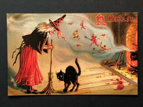 repro vintage postcard HALLOWEEN WITCH BLACK CAT BROOM Pleiades Press p200 NOS