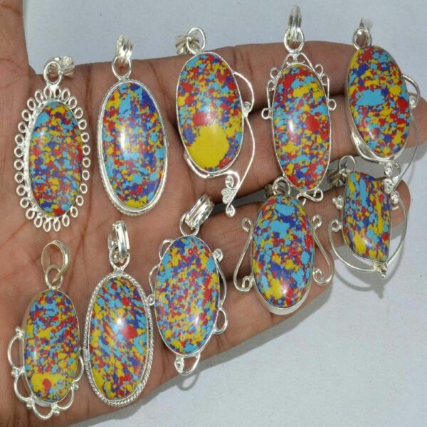 Mosiac Jasper Gemstone 925 Sterling Silver Plated Pendants Lot 1 to 20pc EB48