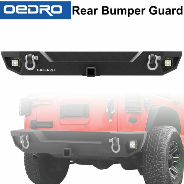 Textured Rear Bumper for 07-18 Jeep Wrangler JK + Hitch Receiver + LED lights