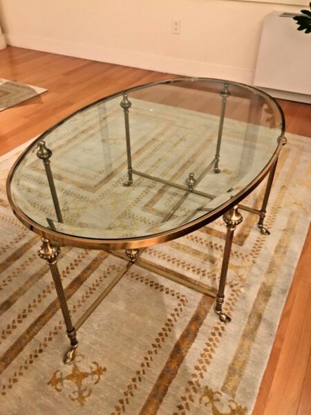 HOLLYWOOD REGENCY FRENCH BRASS HOOF FEET OVAL INSET BEVELED GLASS COFFEE TABLE