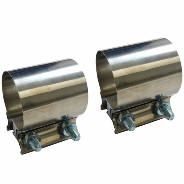 2X 2.5quot; 2 1 2quot; Stainless Steel Butt Joint Band Exhaust Clamp Sleeve Coupler T304 $14.82