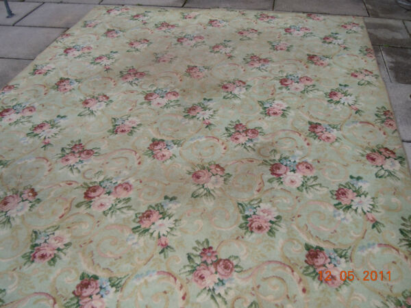 OMG RARE BIGELOW FLAPPER ERA RUG~FRENCH CHIC ROSE BOUQUETS RIBBONS