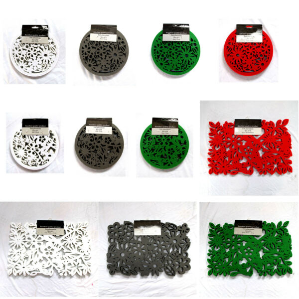 Set of 4 Table FELT Accessories Placemats Coasters RED GREEN GREY WHITE AU $24.95