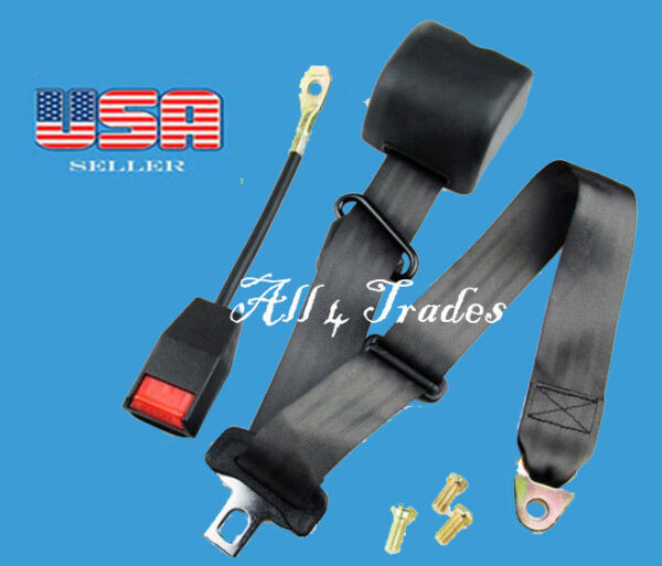 1 Kit of 3 Point Universal Strap Retractable & Adjustable Safety Seat Belt Black