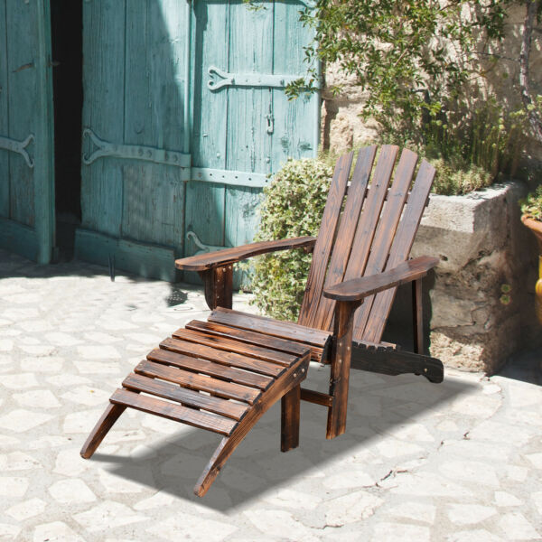 Adirondack Outdoor Patio Deck Wood Lounge Chair Seat w/ Ottoman Carbonized Brown