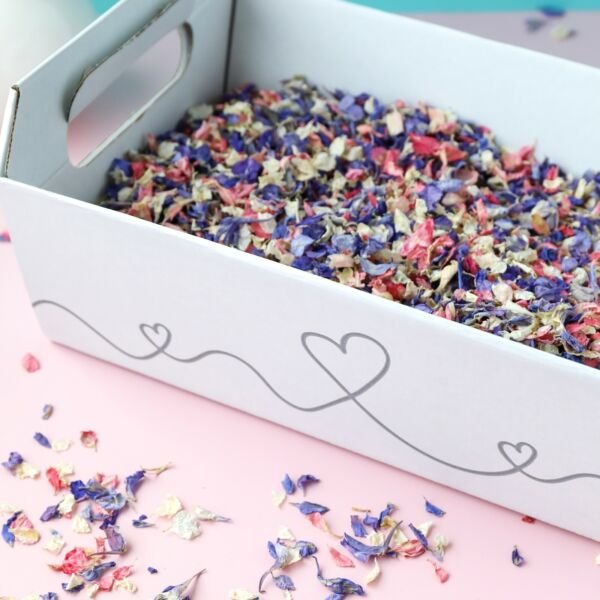 HEART CONFETTI TRAY BASKET CRATE BOX - BIODEGRADABLE PETALS- 2 OR 3 LITRES