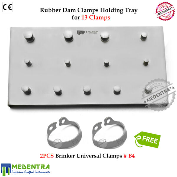 Rubber Dam Clamp Holding Tray Brinker B4 for Upper Molar Jaw IncisorsCanines CE