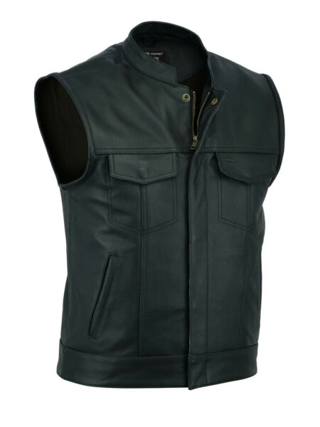 2Fit™ SOA Men's Leather Vest Anarchy Motorcycle Biker Club Prime Quality Vest