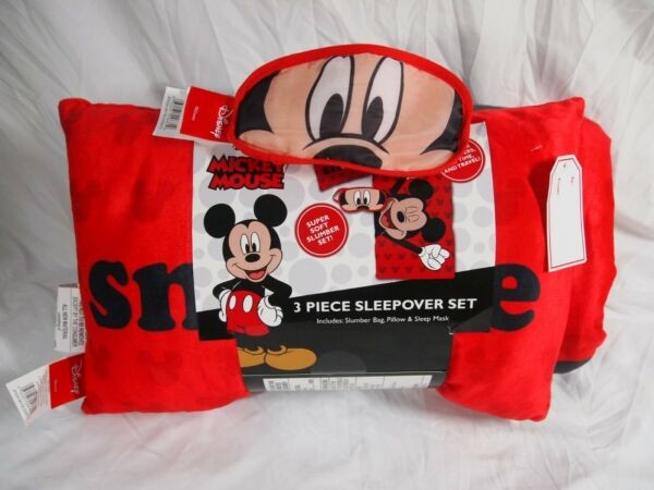 Jay Franco Disney Mickey Mouse 3 Piece Sleepover Set - Cozy & Warm Kids Slumber
