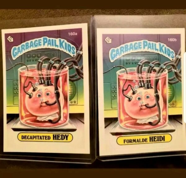 **AUTHENTIC**1986 Garbage Pail Kid Cards #160a&b Decapitated Hedy&Formalde Heidi