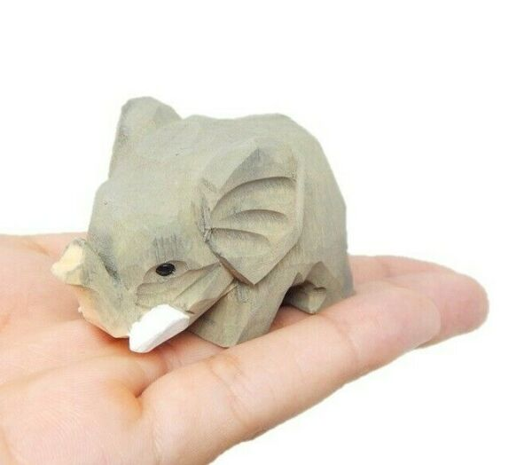 Elephant Small 2quot; Wooden Figure Carving Hand Made Decoration Miniature Animal