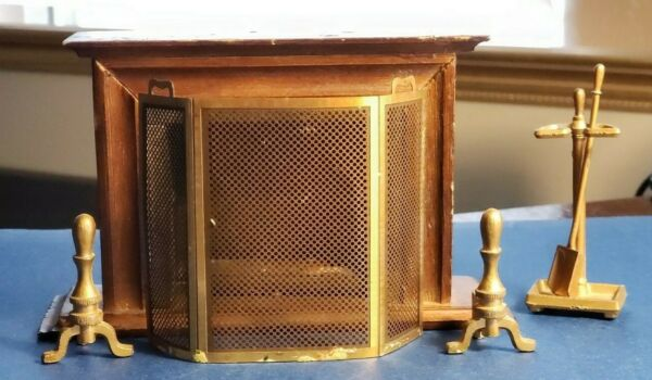Vtg Dollhouse Miniature Wood Fireplace Metal Screen Andirons Shovel Tool Stand