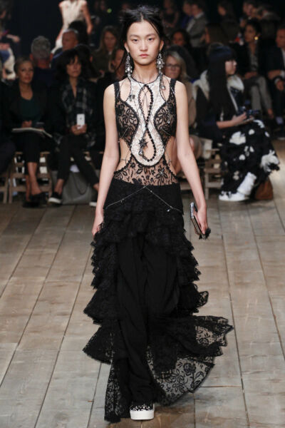 Alexander McQueen Runway Ruffled Jacket Lace Tiered Dress Stunning 38 IT $6400