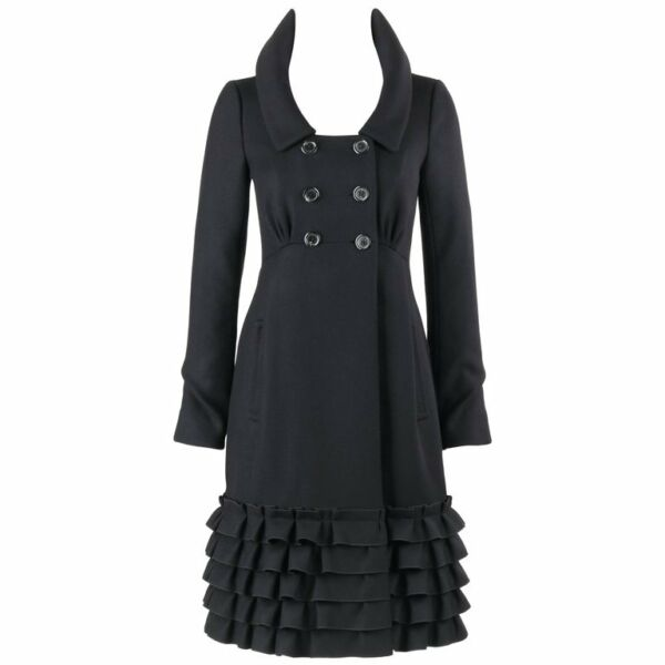 LOUIS VUITTON AW 2006 Black Wool Double Breasted Ruffle Hem Coat