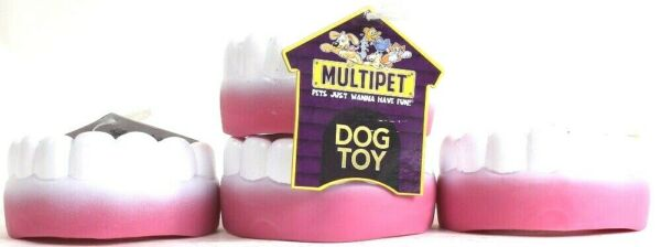 4 Ct Multipet Just Wanna Have Fun 4 Inch Vinyl Teeth Squeaky Dog Toy