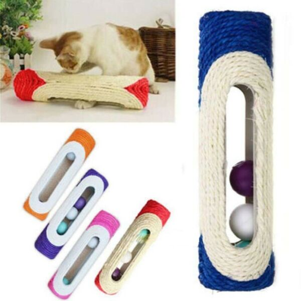 Pet Cat Kitten Kitty Rolling Sisal Scratching Post 3 Trapped Ball Train Toys USA $6.99