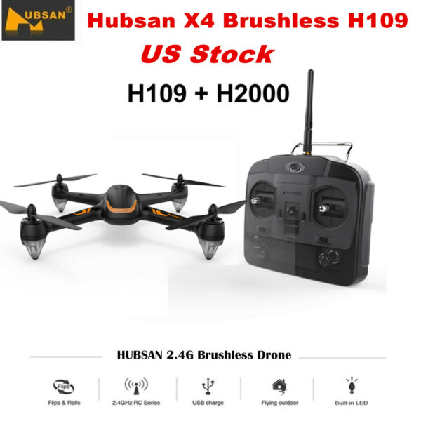 2019 Hubsan X4 H109 Brushless RC Quadcopter Drone LED Flip Rolls RTF, Gift Toy