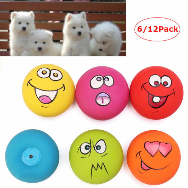 12 Packs Zanies Latex Dog Puppy Play Squeaky Rubber Ball With Face Fetch Toy USA