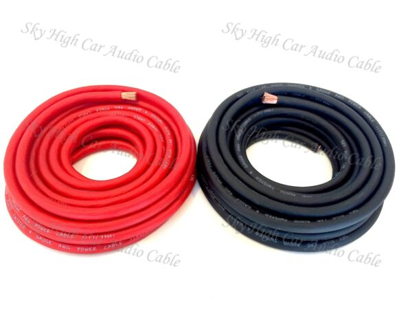 25 ft 4 Gauge AWG 12.5' RED  12.5' BLACK Power Ground Wire Sky High Car Audio