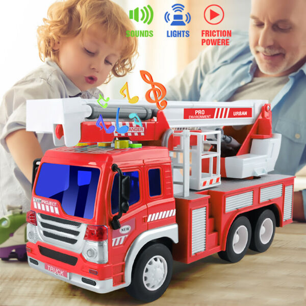 Fire Truck Toy With Lights and Sound  Fire Rescue vehicles Great Gift Kids Toys