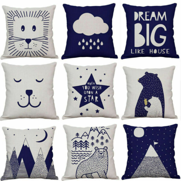 Cotton Linen Cover Soft Fabric Pillowcase Kids Room Sofa Decorative Pillow Case $3.09