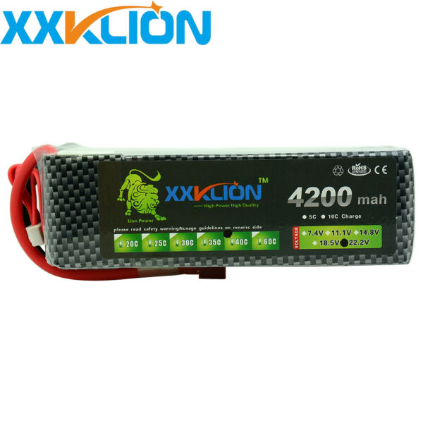 22.2V 4200mAh 6S RC Lipo Battery 40C 80C for Drone Airplane Helicopter Boat Car