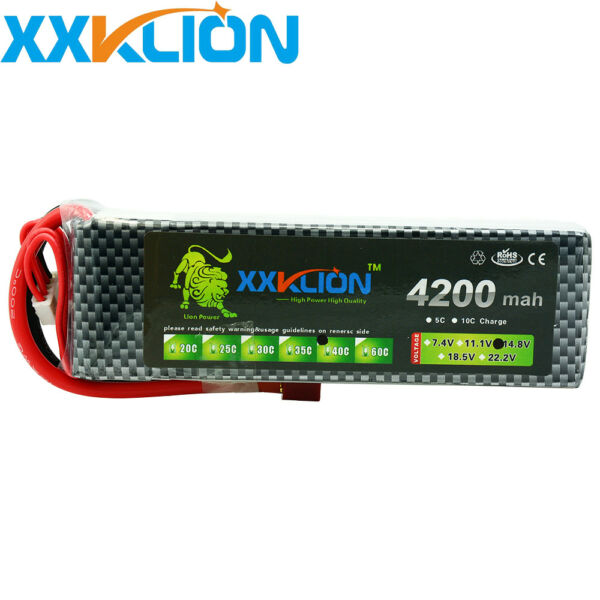 14.8V 4200mAh 4S RC Lipo Battery 40C 80C for Drone Airplane Helicopter Boat Car