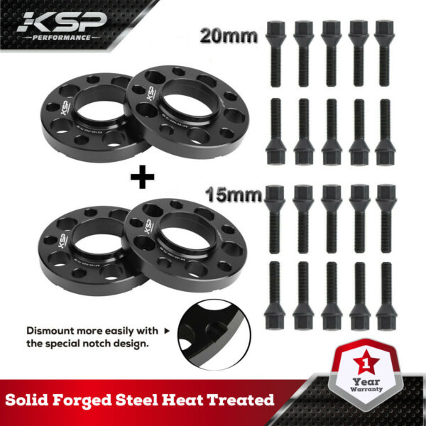 5x120 Staggered Wheel Spacers Kit (2) 15mm & (2) 20mm W Extended Bolts Fits BMW