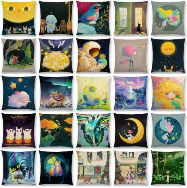 Linen Cover Pillow Decor Waist Case Home Moon Bird Cover Cushion Pattern Cotton $3.09