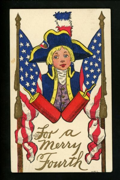 Fourth of July Vintage postcard Patriotic Ullman #124 Artist Wall Child soldier