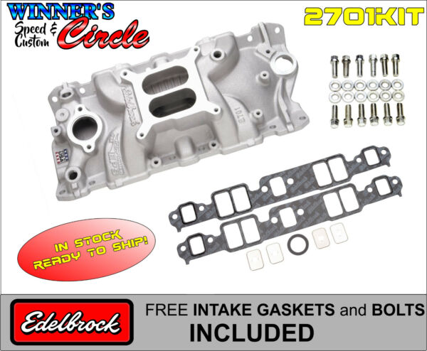Edelbrock 2701 Perf EPS Intake SB Chevy w FREE Edelbrock Bolts and Gaskets $185.99