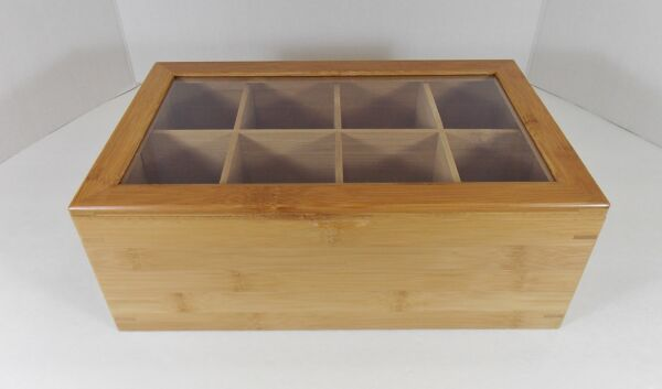 Bamboo Tea BoxCaddy 8 Divided Comp TanClear TJ Riley & Co