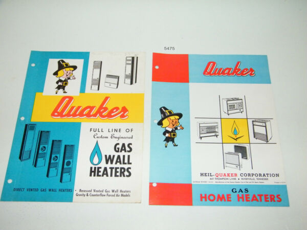 Quaker Gas Home Heater Sales Brochure 1960s Heil Quaker Nashville Tennessee $9.95