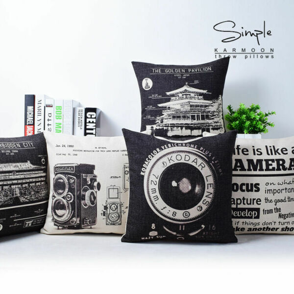 Linen Cover Vintage Camera Case 18quot;x18quot; Building White Cushion Black Lens Pillow $3.09
