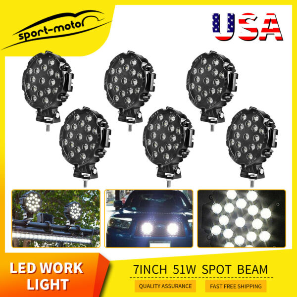 6X 7inch 51W Round Led Work Lights Bull Bar Driving Pods Bike Truck Off Road 4WD $79.88
